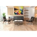 Rooney Black Faux Leather + Walnut Wood Modern Sofa With Tessellation Coffee Table