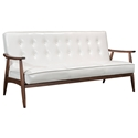 Rooney White Faux Leather + Walnut Wood Frame Modern Sofa