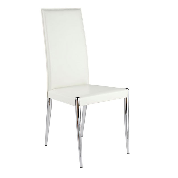 Rosaria White + Chrome Modern Dining Side Chair