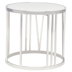 Roscoe White + Steel Round Modern Side Table