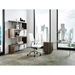 Rosenheim Clear Glass Modern L-Desk With Walnut Mobile File - With Summation Bookcase