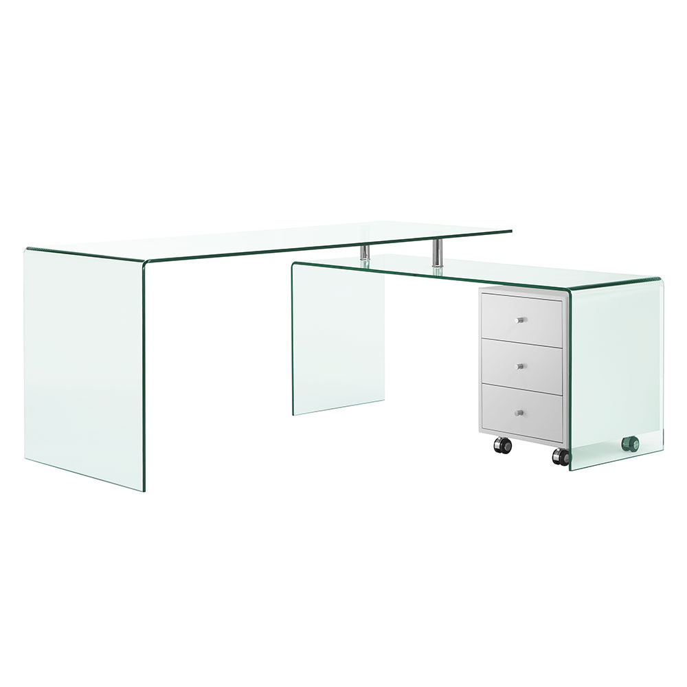 Rosenheim Clear Glass Modern L-Desk With White Mobile File