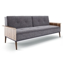 Rosy Charcoal Fabric + Bent Walnut Plywood Contemporary Sleeper Sofa Futon