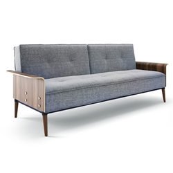 Rosy Gray Fabric + Bent Curved Wood Contemporary Sleeper Sofa