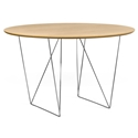 Row Oak + Chrome 47 in. Dining Table by TemaHome