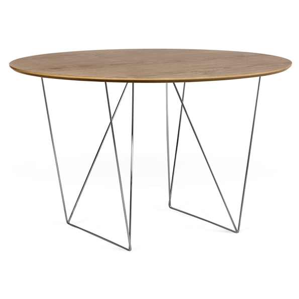 Row Walnut + Chrome 47 in. Dining Table by TemaHome