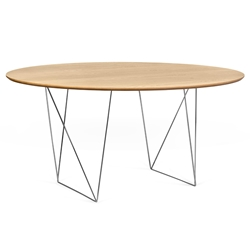 Row Oak + Chrome 59 in. Dining Table by TemaHome