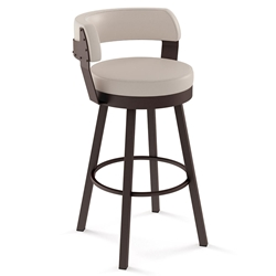 Russell Modern Bar Stool by Amisco in Black Coral + Oyster