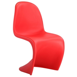 S-Shaped Red Classic Modern Dining Chair
