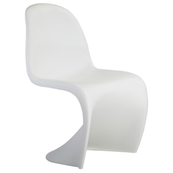 S-Shaped White Classic Modern Dining Chair