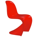 S-Shaped Matte Red Classic Modern Side Chair