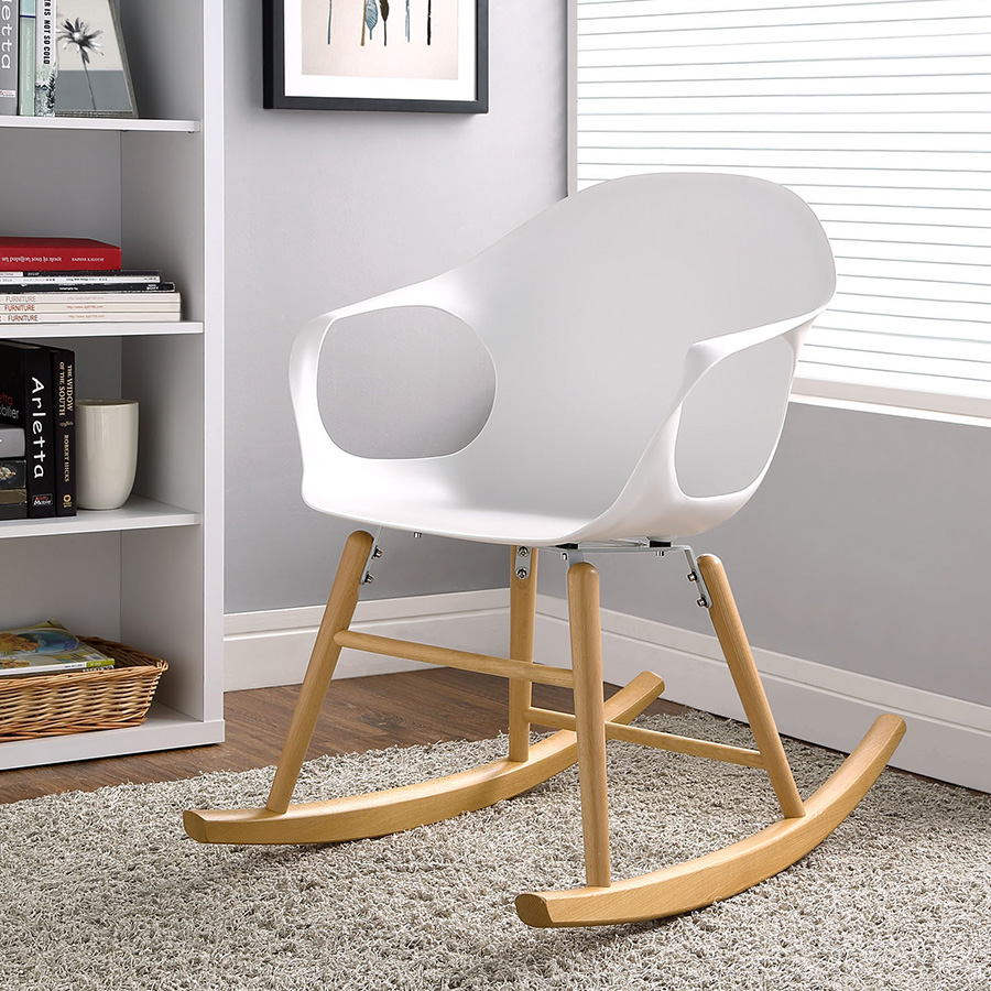 Sacramento Contemporary White Rocking Chair