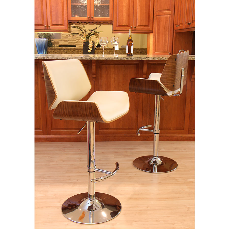 ... Saga Cream + Walnut Adjustable Modern Bar Stool