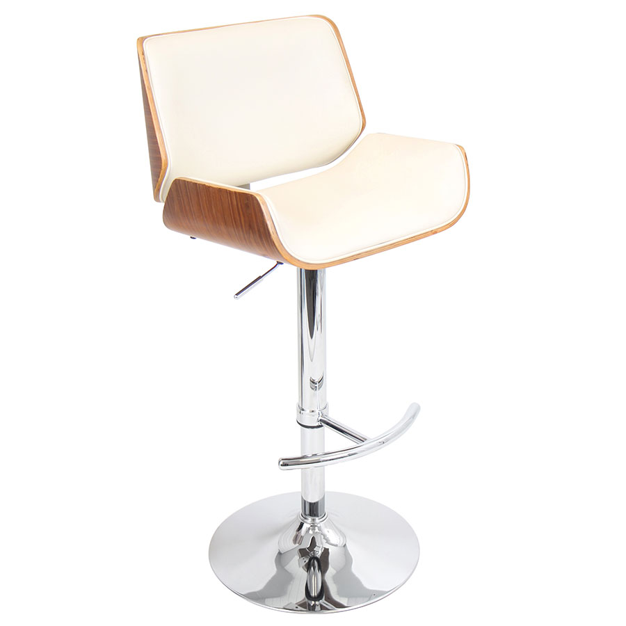 Saga Cream Adjustable Contemporary Bar Stool
