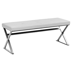 Savannah White Contemporary Dining Bench