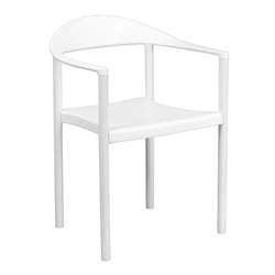 Salado Modern Plastic Stacking Indoor + Outdoor Arm Chair in White
