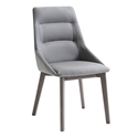 Salamanka Gray Faux Leather + Gray Wood Modern Dining Side Chair