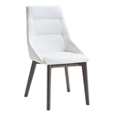 Salamanka White Faux Leather + Gray Wood Modern Dining Side Chair