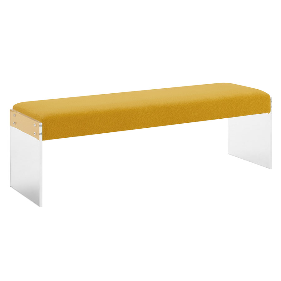Salford Yellow Velvet + Clear Acrylic Modern Bench