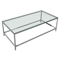 Salina Modern Stainless + Glass Coffee Table