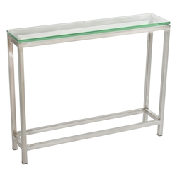 Salina Modern Stainless + Glass Large Console Table