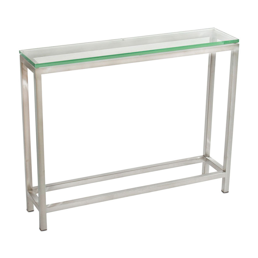 narrow console table. Salina Modern Stainless + Glass Small Console Table Narrow O