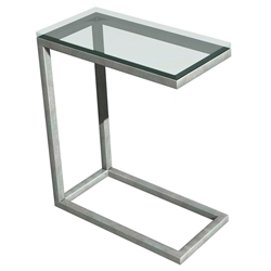 Salina Modern Stainless + Glass Snack Table