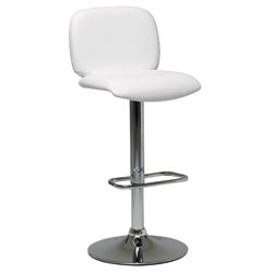 Samir Modern Adjustable Bar Stool in White by Pezzan