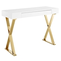 Samuel Modern Gold + White Console Table Desk