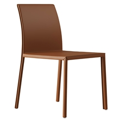 Modloft Black Sanctuary Modern Dining Side Chair in Whisky Reclaimed Leather