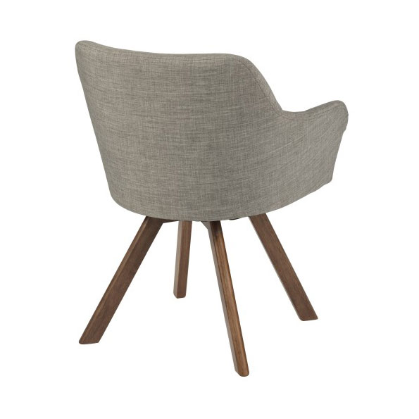 Sanders Modern Light Gray Arm Chair - Back View
