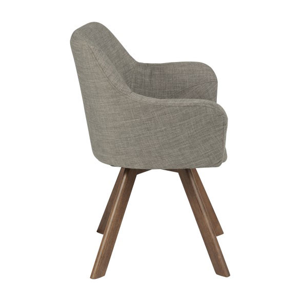 Sanders Modern Light Gray Arm Chair - Side View