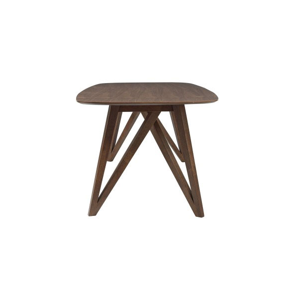 Sanders Modern Walnut Dining Table - End View