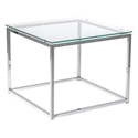 Sandor 24 Inch Modern Glass + Chrome End Table by Euro Style