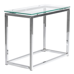 Sandor Narrow Modern Glass + Chrome End Table by Euro Style