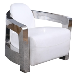 Sandoval Modern White Leather Accent Chair