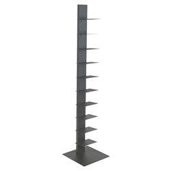 "Sapiens Gray Powder Coated Steel 60"" Modern Bookcase"
