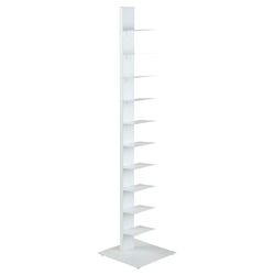 "Sapiens White Powder Coated Steel Modern 60"" Bookcase"