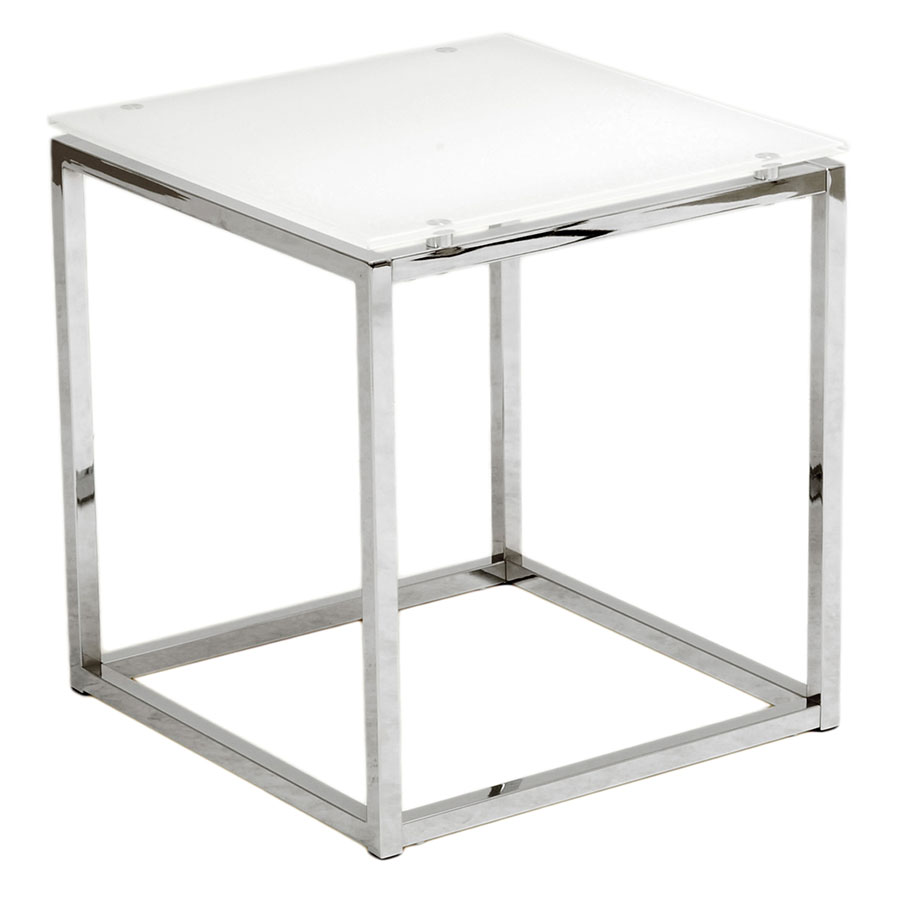 Sara Modern End Table with White Glass