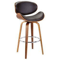 Sarah Modern Walnut + Brown Faux Leather Counter Stool