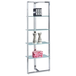 Sarah Modern Stainless Steel + Glass Shelf