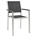 Sarasota Modern Outdoor Black Mesh Arm Chair