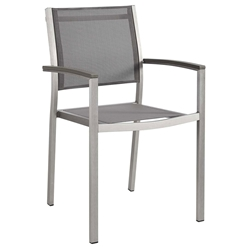 Sarasota Modern Outdoor Gray Mesh Arm Chair