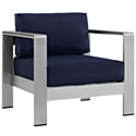 Sarasota Navy Blue Modern Outdoor Arm Chair