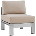 Sarasota Beige Modern Outdoor Armless Chair