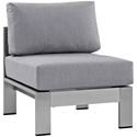Sarasota Gray Modern Outdoor Armless Chair