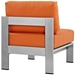 Sarasota Orange Modern Outdoor Armless Chair - Back View