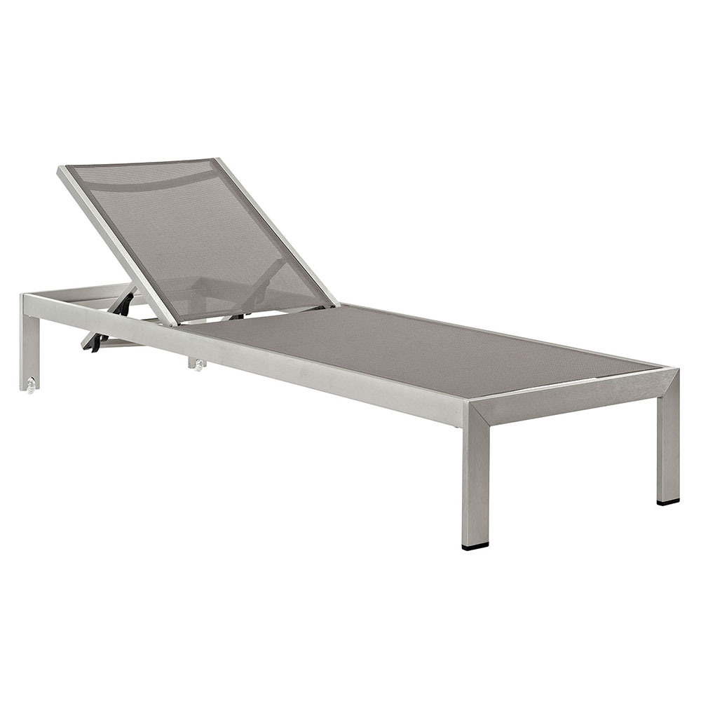 Sarasota Modern Gray Mesh Outdoor Chaise Lounge