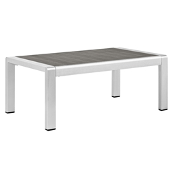 Sarasota Modern Outdoor Brushed Aluminum Coffee Table