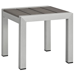 Sarasota Modern Outdoor Brushed Aluminum End Table